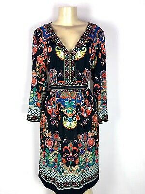 Brand New Eci Multi Color Paisley V Neck Boho Style Long Sleeve Dress Size Lg