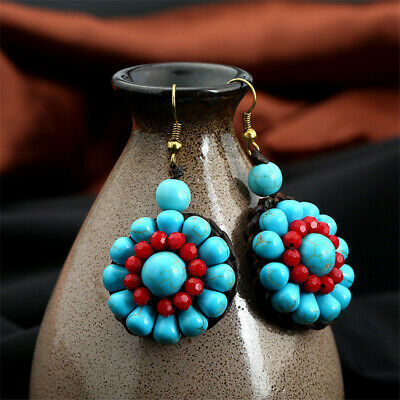 Bohemia Turquoise Handmade Weave Earrings Cute Flawless Dangle Luxury Elegant