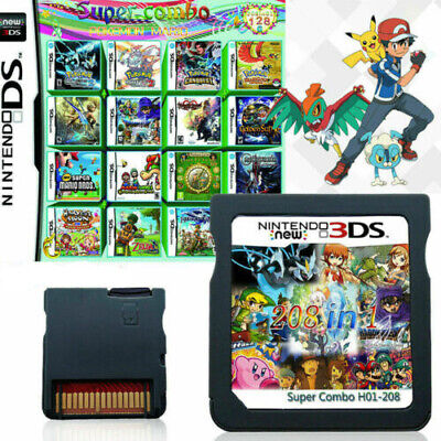 For Nintendo NDS NDSL 3DS LL/XL NDSI Pokemon Mario 208 IN 1 Game Cartridge M8K7T