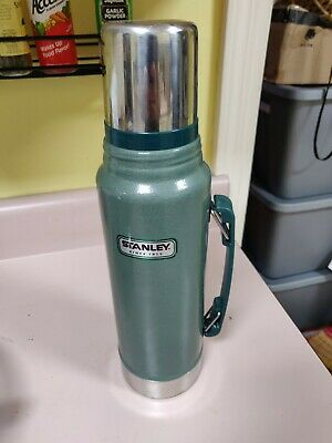 VINTAGE GREEN STANLEY Metal Thermos with Cup Top 1 1 Quart