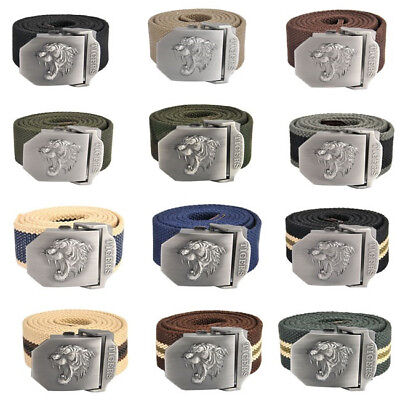 Men Tiger Head Automatic Military Style Tactical Canvas Belt Metal Buckle 140cm