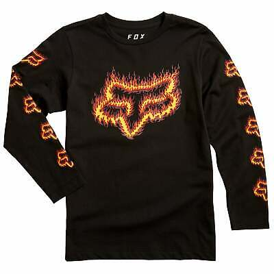 Fox Racing Youth Flame Head Boys T-shirt Long Sleeve - Black Orange All Sizes