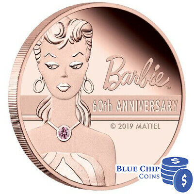 2019 $500 Barbie 60th Anniversary 2oz Rose Gold Pink Diamond Proof Coin No: 11