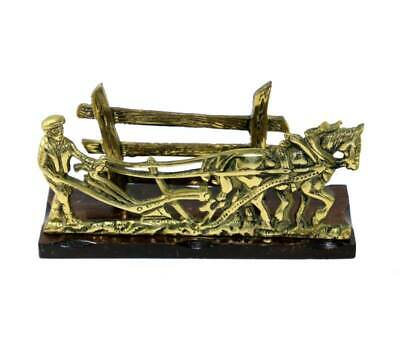 Vintage brass ploughman and plough horse letter rack on wooden base