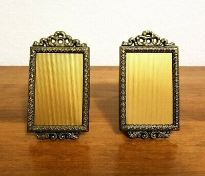 Pair of Small Vintage Ornate Italian Brass Gold Metal Romantic Picture Frames
