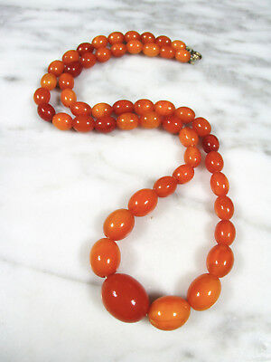 """Antique Butterscotch Egg Yolk Baltic Amber Oval Bead Necklace 29.8 Grams 23 5/8"""""""