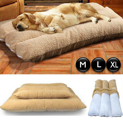 Large Dog Cushion Mat Fleece Soft Sleeping Bed Pillow Mattress w/ Washable Cover