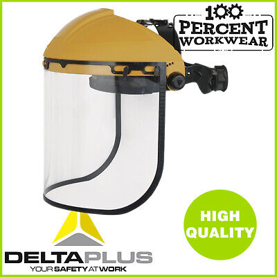 Pro High Quality Delta Plus Face Shield Clear Visor Head Brow Guard Protection