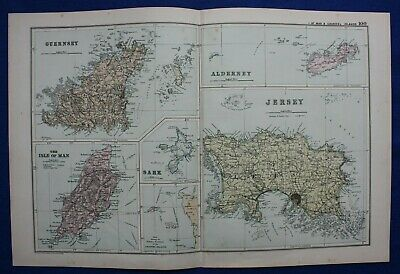 ISLE OF MAN, CHANNEL ISLANDS, original antique atlas map, George Bacon, 1895