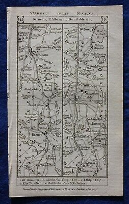 Original antique road map HERTS, BEDS, NORTHANTS, ST ALBANS, Paterson, 1785