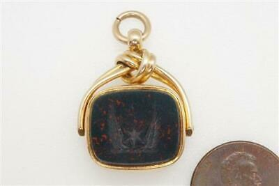 FINE QUALITY ANTIQUE ENGLISH 18K GOLD BLOODSTONE SEAL FOB c1891