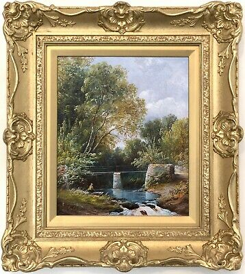 Angler in a River Landscape Antique Oil Painting 19th Century English School