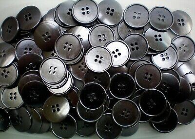 MB189A - B 18mm 23mm Gunmetal Dark Grey Metal 4 Hole Industrial Ribbed Buttons
