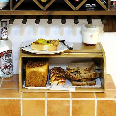 """16"""" Roll top Bamboo Bread Box Wooden Storage Loaf Container Home Kitchen Food US"""