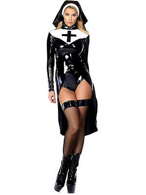 sexy nun Vinyl polyester adult party dress cosplay Halloween costume outfit