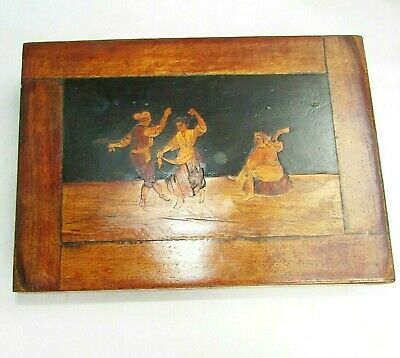 Vintage wooden box with folk dancing design on the lid cushioned insides