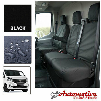 Black Tailored Seat Covers for Renault Traffic 2014-On Front Driver & Passengers