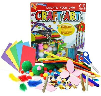Childrens Crafts Kids Mega Craft Box Hobby Art Set Pom Poms Beads Foam Paper