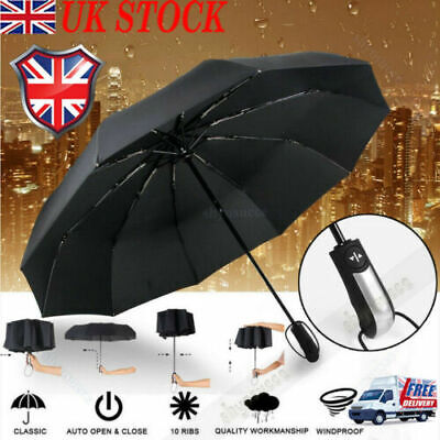 Automatic Folding Umbrella Compact Windproof Travel Canopy 10 Ribs Strong Frame