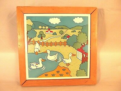 Framed Ceramic Tile Trivet Wall Plaque Goose Pond Rural Scene Design 6 x 6 Tile