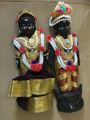 2 Asian figures  religious / wedding . Wooden carved and decorated