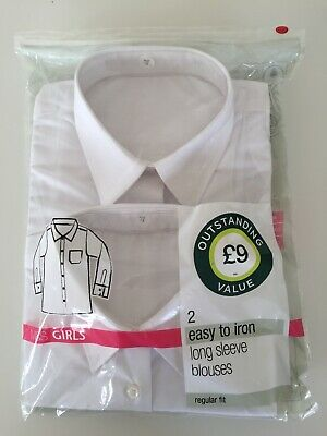 New Marks & Spencer Girls School Blouses Age 12 Years ( Two Blouses In Pack)