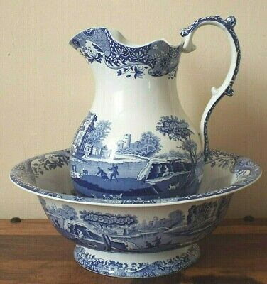 Spode Blue Italian Large WASH BASIN & WATER JUG / PITCHER Blue & White Rare