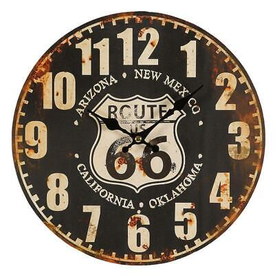 Route 66 Wall Clock in Retro-Style, Biker Watch, Pubs Watch US Route 66 28 CM