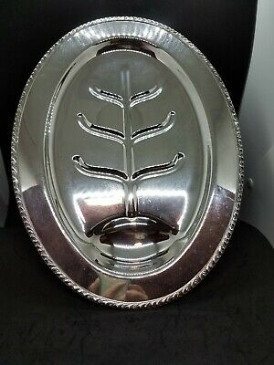 "Vintage Lifetime Brand 16"" Footed Silver Plate Meat / Carving Platter with Well"