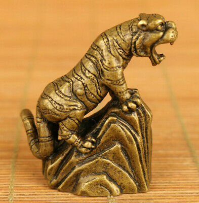 old bronze hand casting tiger statue netsuke table decoration gift