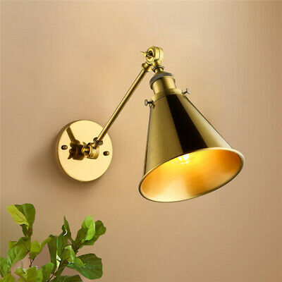 Industrial Metal Brass Cone Shade Wall Lamp Adjustable Single Light Wall Sconce