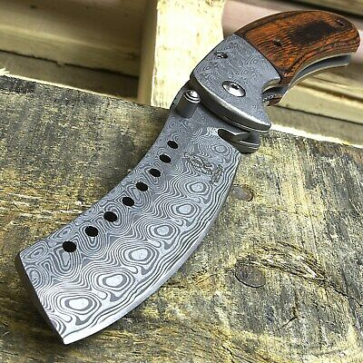 "8"" BUCKSHOT DAMASCUS STYLE WOOD SPRING ASSISTED FOLDING POCKET KNIFE Open EDC"