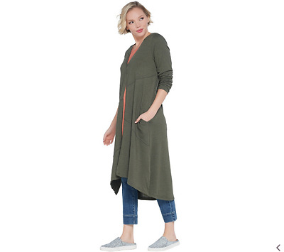 LOGO by Lori Goldstein Regular Sweater Knit Duster w/ Seam Details-Rosemary-XS
