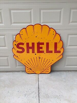 """Original Shell 48"""" Porcelain Double Sided Gas Oil Advertising Sign"""