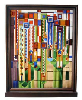 Frank Lloyd Wright SAGUARO FORMS CACTUS FLOWERS Stained Art Glass Panel Display