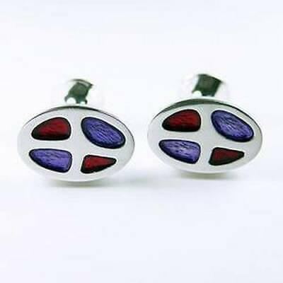Cufflinks - Silver Plated Pewter - Oval - Red/Blue Enamel