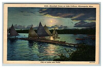Moonlight on Lake Calhoun, Minneapolis MN c1947 Linen Postcard D28