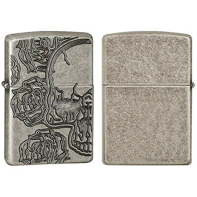 Zippo Lighter Skull Rose Antique Silver Plate Brass Emblem Armor Windproof Gift