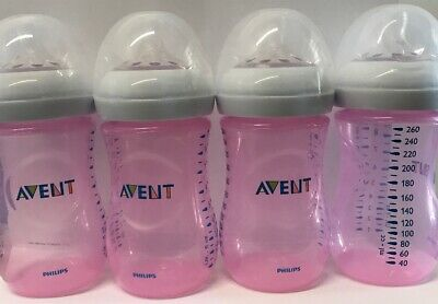 - NEW - Philips Avent Natural BPA-Free Baby Bottles - 9oz, Pink, 4 Pack (No Box
