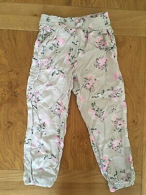 H & M Floral Trousers, Pockets With Tapered Ankles. Aged 4-5. Perfect Con