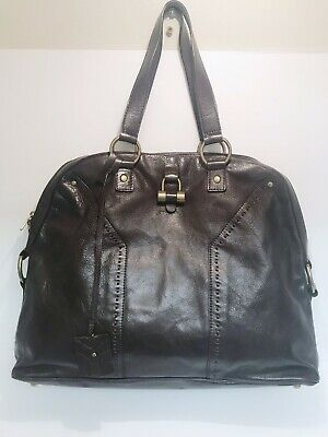 **YVES SAINT LAURENT BLACK/ BROWN LARGE MUSE DOME BAG, good condition!**