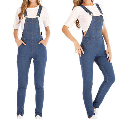 Womens Casual Denim Dungarees Jumpsuits Long Overalls Slim Fit Jeans Trousers 18