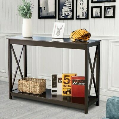 Console Table Side End Table Shelf Storage Wooden Hall Desk for Home (Brown)