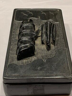 Antique Calligraphy Brush Ink Well Box Bamboo Birds Carved Hardstone Artist Sign