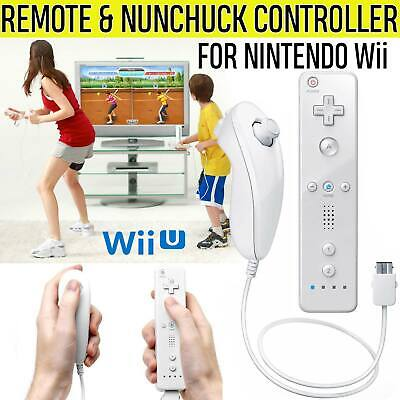 Wiimote Remote Nunchuck Controller Combo Set Kit for Nintendo Wii U Games White