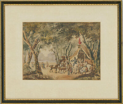 Framed Late 19th Century Watercolour - Figures in a Woodland