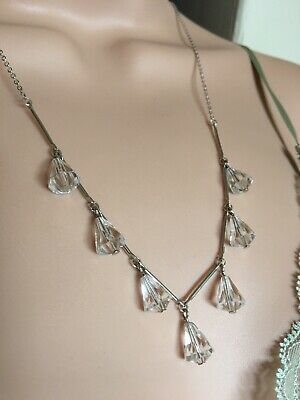 art deco Style Vintage Faceted Glass Crystal bead Paste necklace