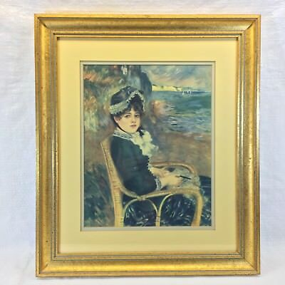 Framed Print Vintage Renoir 'By the Seashore' Antique Gold Picture Frame 17 x 20