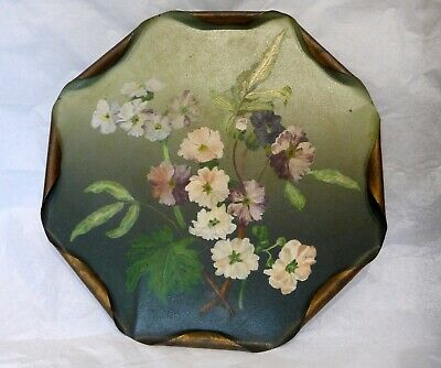 Antique Victorian Toleware painted tin tray. Octagon with rolled in gilt edges
