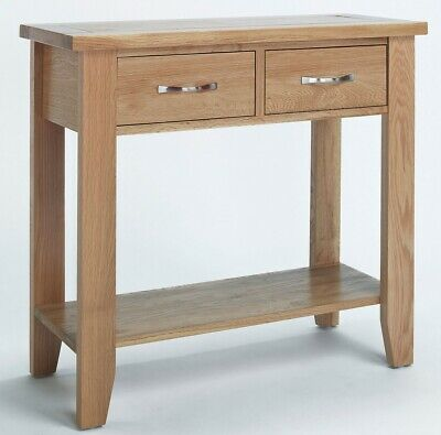 Small Oak Console Table | Solid Wood Hall/Side/End/Telephone Table with 2 Drawer
